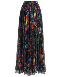 熱帯水彩マキシスカート ブラック