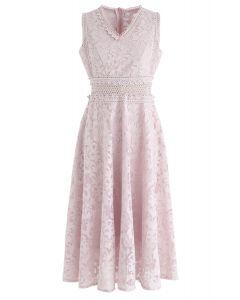 刺繍オーガンザワンピース ピンク