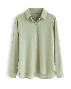ボタン付き無地シャツ グリーン