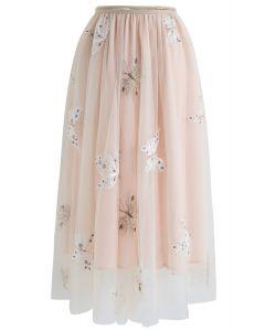 バタフライ刺繍ダブルレイヤーメッシュミディスカート