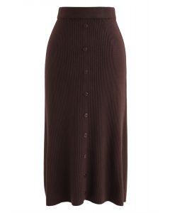 ボタン付きニットスカート ブラウン