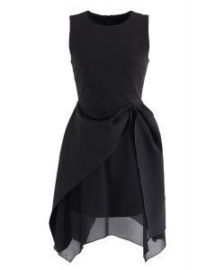 非対称裾ノースリーブワンピース ブラック