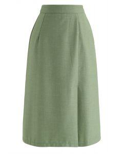 ベースカラースプリットヘムスカート グリーン