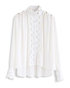 ボタンフロントウェーブ型ハイローシャツ ホワイト
