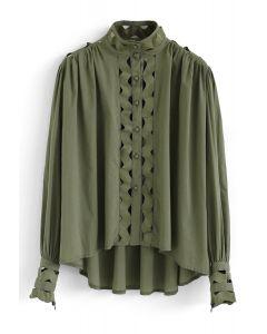 ボタンフロントウェーブ型ハイローシャツ グリーン