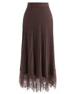 レース裾プリーツAラインニットスカート ブラウン