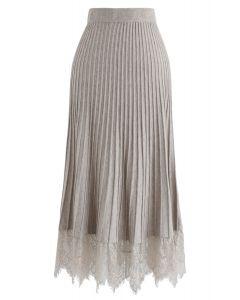 レース裾プリーツAラインニットスカート サンド