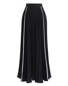 ライントリムプリーツスカート  ブラック