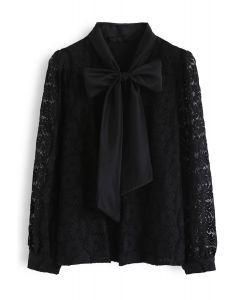 フローラルレースボウネックシャツ ブラック