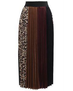レオパード柄プリーツベルベットスカート
