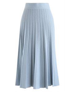 Aラインプリーツニットミディスカート ブルー