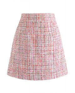 シークイン付きツイードミニスカート ピンク