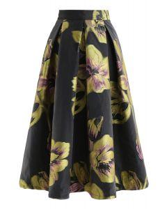 花柄オーガンザAラインスカート