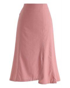 非対称裾スカート ピンク