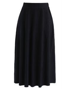 ラディアントラインニットスカート ブラック