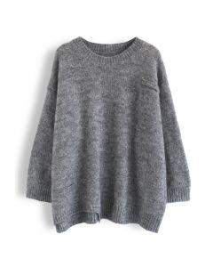 オーバーサイズセーター グレー