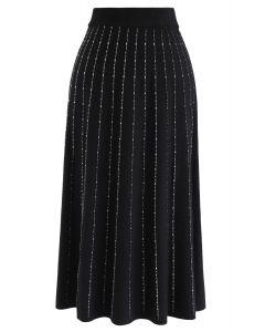 ストラップニットAラインスカート ブラック