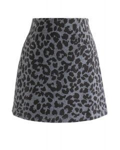 レオパード柄ウール混台形スカート スモーク
