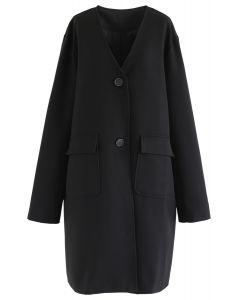 Vネックロングラインコート ブラック