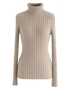タートルネックセーター キャメルカラー