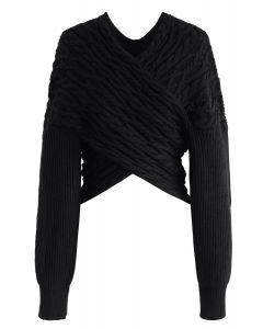 テクスチャニットクロップセーター ブラック