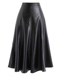 フェイクレザーAラインスカート ブラック