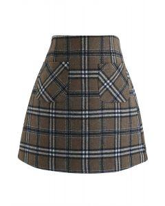 プラッド柄ウールブレンドスカート