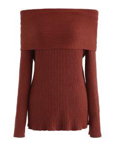 オフショルダーリブ編みセーター レッド