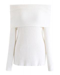 オフショルダーリブ編みセーター ホワイト