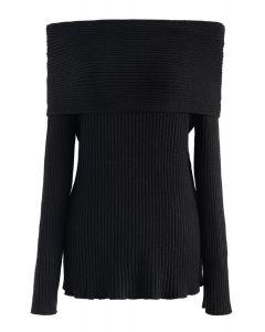 オフショルダーリブ編みセーター ブラック