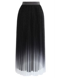 グラデーションメッシュベルベットプリーツスカート ブラック