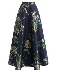 花柄ジャカードマキシスカート ネイビー