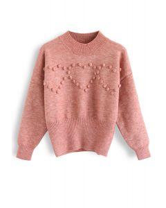ポンポンハートセーター ピンク
