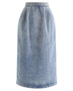 ウォッシュデニムペンシルスカート