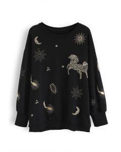 星柄プルオーバースウェットシャツ ブラック