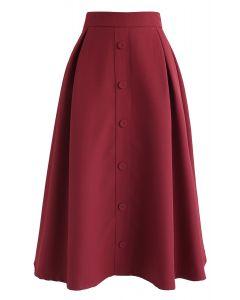 ボタンフロントAラインスカート レッド