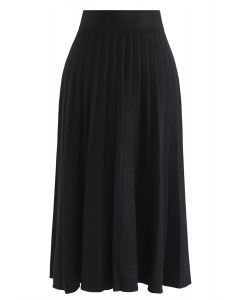 プリーツAラインニットスカート ブラック