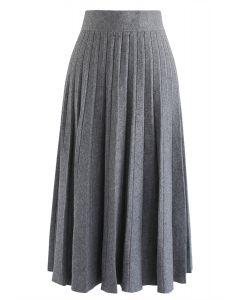 プリーツAラインニットスカート グレー