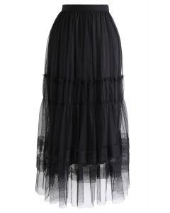 ダブルレイヤードチュールスカート ブラック