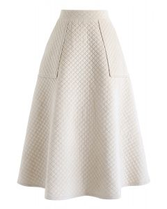 ベルベットAラインスカート アイボリー