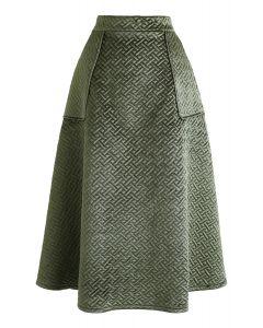 ベルベットAラインスカート グリーン