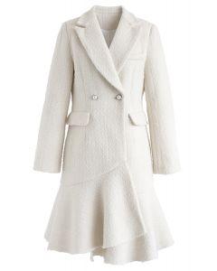 非対称裾ツイードコートワンピース ホワイト