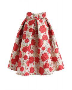 花柄刺繍花ジャカードスカート