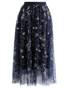 シークイン付き刺繍メッシュチュールスカート ネイビー