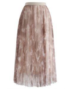 水彩ダブルレイヤーメッシュチュールスカート ベージュ