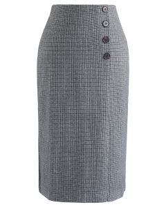 プラッド柄スカート グレー