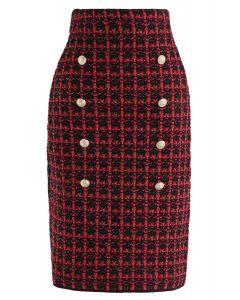 ボタン付きグラッド柄スカート レッド