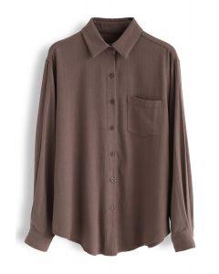 ポケットボタンダウンスリーブシャツ ブラウン