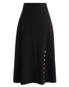 ボタントリムAラインニットスカート ブラック