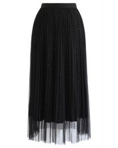 メッシュチュールプリーツスカート ブラック